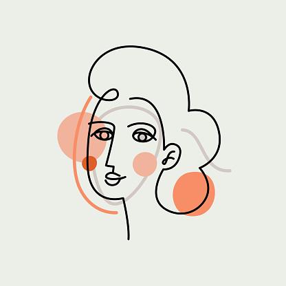 Vector illustration in minimal linear style - minimalistic female portrait
