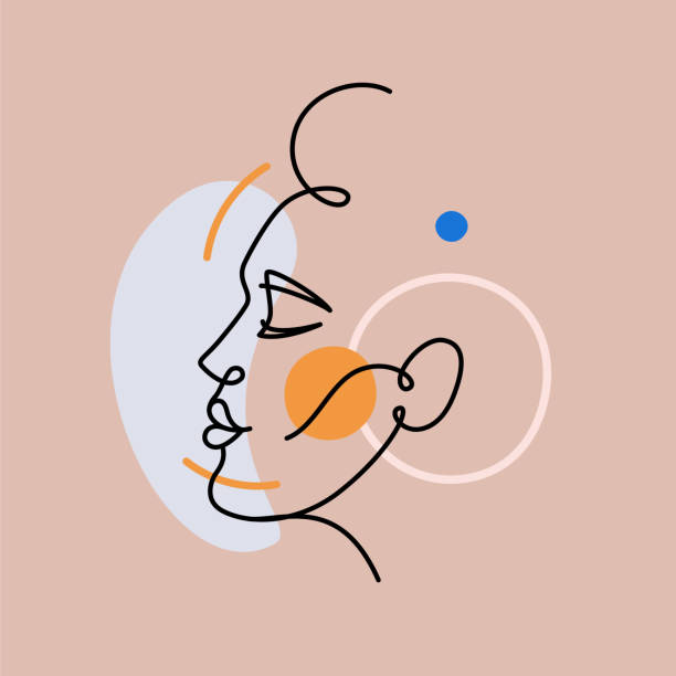 Vector illustration in minimal linear style - minimalistic female portrait - vector art illustration