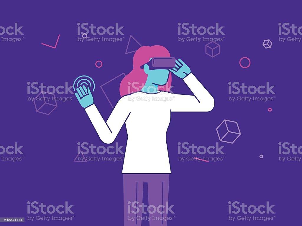 Vector illustration in modern flat style - girl wearing VR vector art illustration