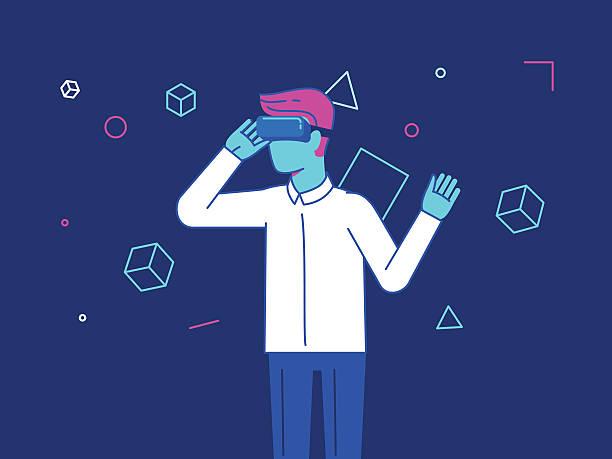 illustrazioni stock, clip art, cartoni animati e icone di tendenza di vector illustration in modern flat style - guy wearing vr - young digital