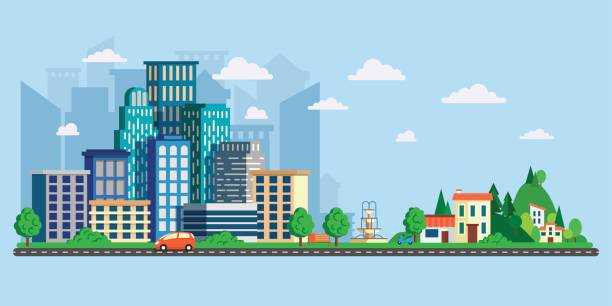 vector illustration in modern flat style, urban landscape with large skyline and suburb with private houses on a background hills. street and asphalt road with cars. city life - suburbs stock illustrations