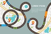 Vector illustration in modern flat style. Winding roads with a lot of cars and tracks. Top view map with location pins, can used for web banners and info graphic.