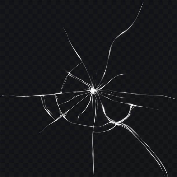 ilustraciones, imágenes clip art, dibujos animados e iconos de stock de ilustración de vector de estilo realista de vidrio quebrado, agrietado - textura de vidrio