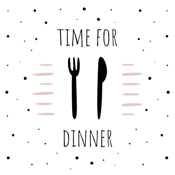 illustrazioni stock, clip art, cartoni animati e icone di tendenza di vector illustration in scandinavian style, spoon and fork. white background with dots. time for dinner - galateo a tavola