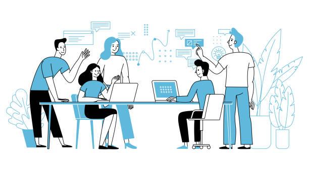 illustrations, cliparts, dessins animés et icônes de illustration de vecteur dans le modèle linéaire plat simple avec des caractères souriants de dessin animé - travail d'équipe et concept de coopération - - entrepreneur