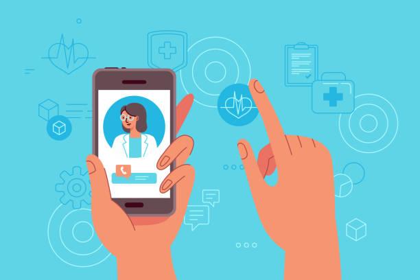 ilustraciones, imágenes clip art, dibujos animados e iconos de stock de ilustración vectorial en estilo plano simple-concepto de medicina en línea y tele - telehealth