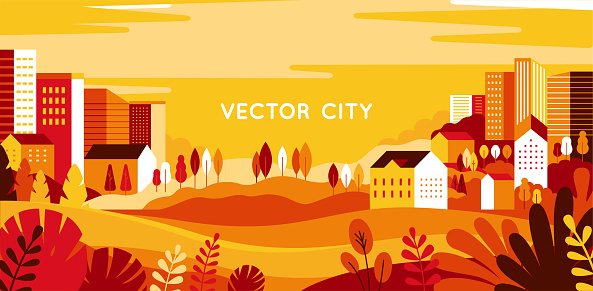 Vector illustration in simple minimal geometric flat style - autumn city landscape