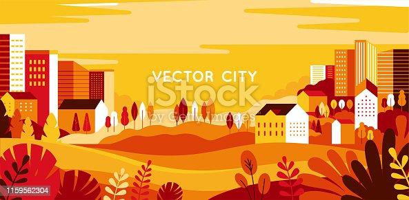 istock Vector illustration in simple minimal geometric flat style - autumn city landscape 1159562304