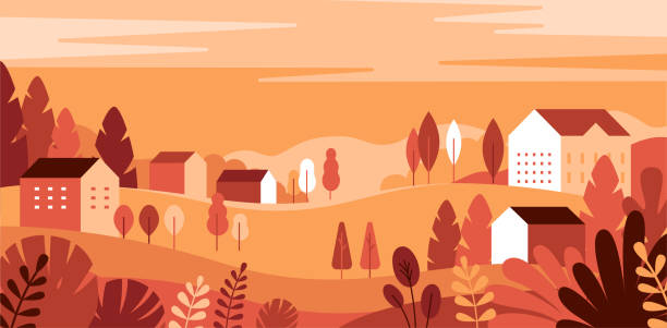 Vector illustration in simple minimal geometric flat style - autumn city landscape vector art illustration
