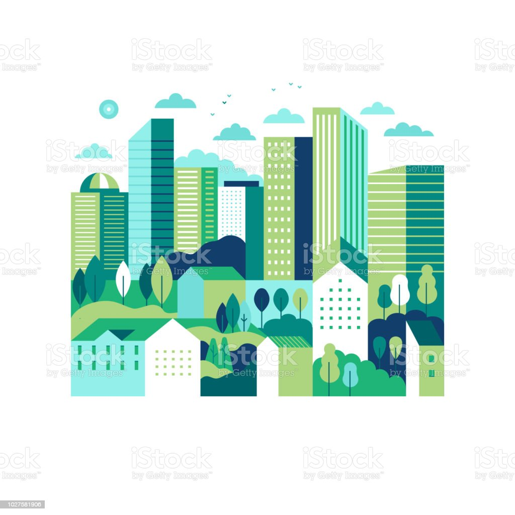 Vector illustration in simple minimal geometric flat style - city landscape with buildings and trees - Royalty-free Ao Ar Livre arte vetorial
