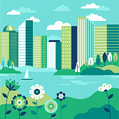 istock Vector illustration in simple minimal geometric flat style - city landscape with buildings, lake flowers and trees 1027607884