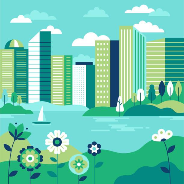 Vektor-Illustration in einfachen geometrischen flache minimalstil - Stadtlandschaft mit Gebäuden, See Blumen und Bäume – Vektorgrafik