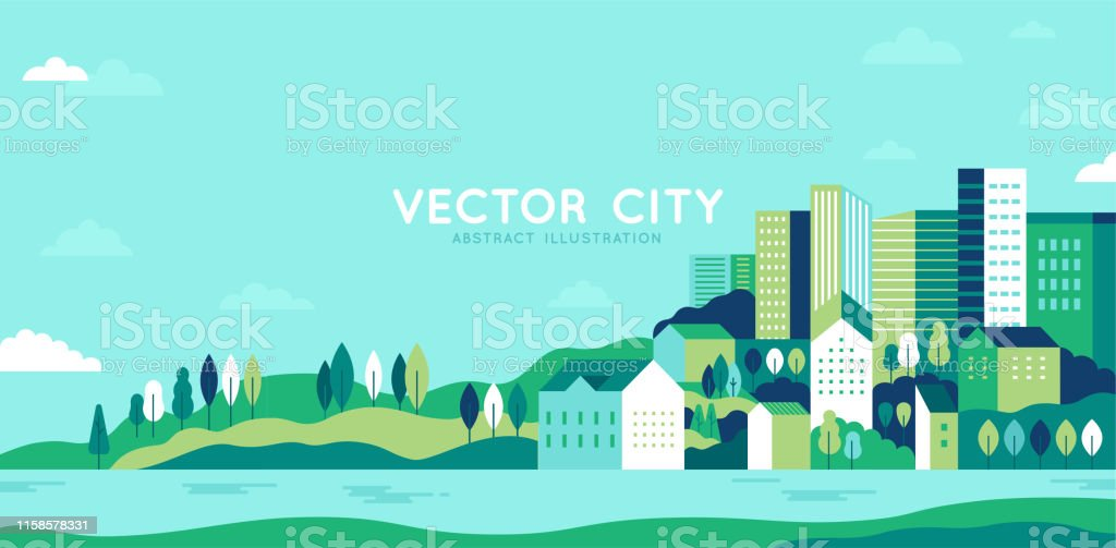 Vector illustration in simple minimal geometric flat style - city landscape with buildings, hills and trees - abstract horizontal banner - Grafika wektorowa royalty-free (Baner)