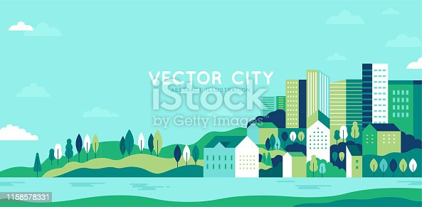 istock Vector illustration in simple minimal geometric flat style - city landscape with buildings, hills and trees - abstract horizontal banner 1158578331