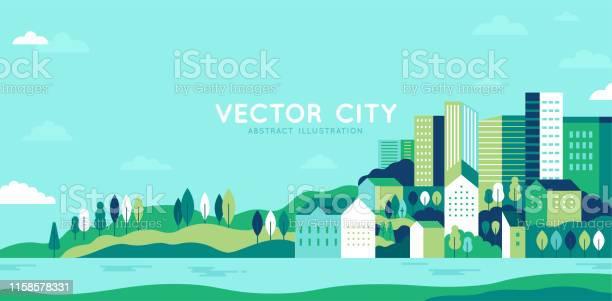 シンプルな最小限の幾何学的フラットスタイルのベクトルイラスト 建物丘や木と都市の風景 抽象的な水平バナー - アイコンのベクターアート素材や画像を多数ご用意