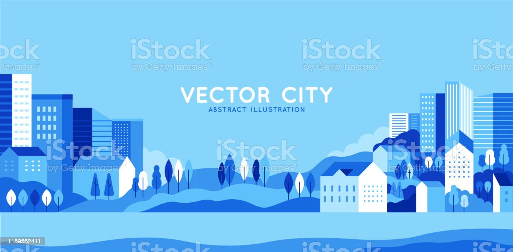 Vector illustration in simple minimal geometric flat style - city landscape with buildings, hills and trees - abstract horizontal banner - Royalty-free Ao Ar Livre arte vetorial
