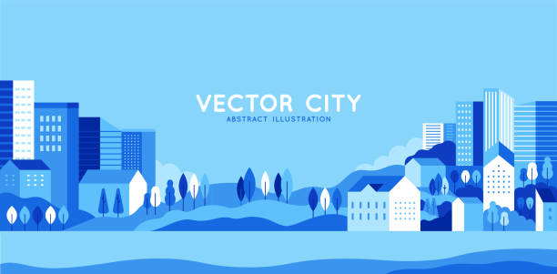Vector illustration in simple minimal geometric flat style - city landscape with buildings, hills and trees - abstract horizontal banner Vector illustration in simple minimal geometric flat style - city landscape with buildings, hills and trees - abstract horizontal banner and background with copy space for text - header images for websites, covers town stock illustrations