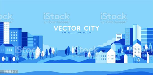 Vector Illustration In Simple Minimal Geometric Flat Style City Landscape With Buildings Hills And Trees Abstract Horizontal Banner - Arte vetorial de stock e mais imagens de Ao Ar Livre