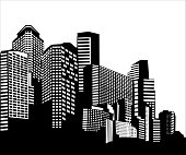 Vector illustration in simple minimal geometric flat style - city landscape with buildings. Isolated on white background