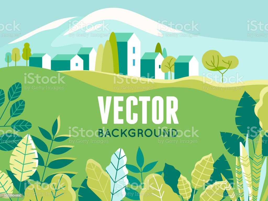 Vector illustration in simple minimal geometric flat style - village landscape with buildings, hills, flowers and trees vector art illustration