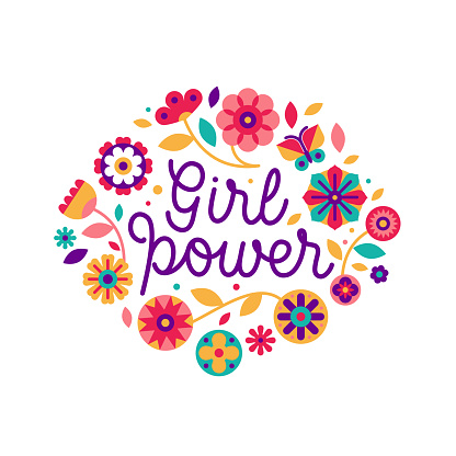 Vector illustration in simple style with hand-lettering phrase girl power  and flowers