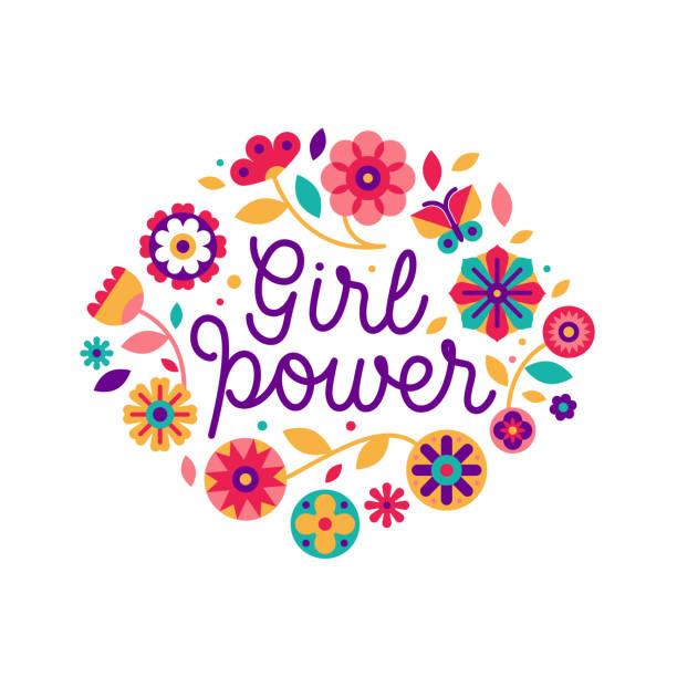 Vektor-Illustration im einfachen Stil mit Hand-Schriftzug Satz Frauenpower und Blumen – Vektorgrafik