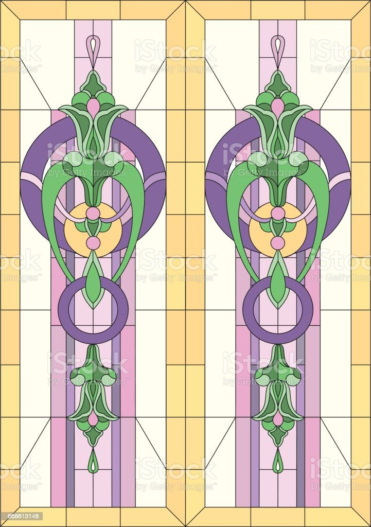 Vector Illustration In Stained Glass With Geometric Patterns Of