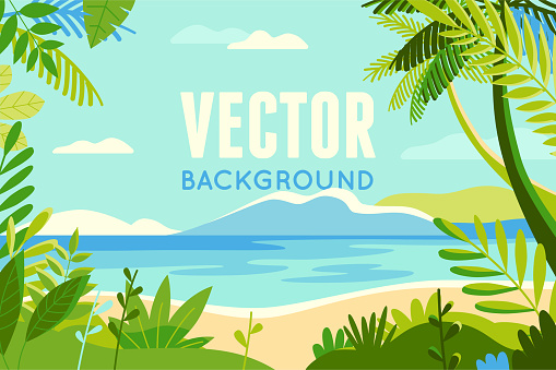 Vector illustration in trendy flat and linear style - background with copy space for text - plants, leaves, palm trees and sky - beach landscape clipart