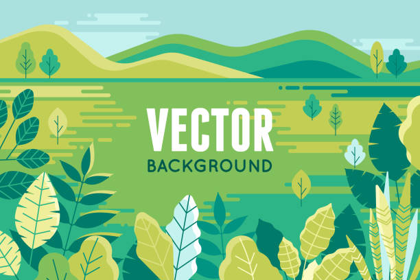 Vector illustration in trendy flat and linear style - background with copy space for text - plants, leaves and forest landscape Vector illustration in trendy flat and linear style - background with copy space for text - plants, leaves and forest landscape - background for banner, greeting card, poster and advertising nature and landscapes stock illustrations