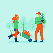 Vector illustration in trendy flat linear style - gardening concept  - cartoon female and male characters for infographics, banners planting and watering tree