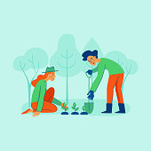 Vector illustration in trendy flat linear style - gardening concept  - cartoon female and male characters for infographics, banners planting tree