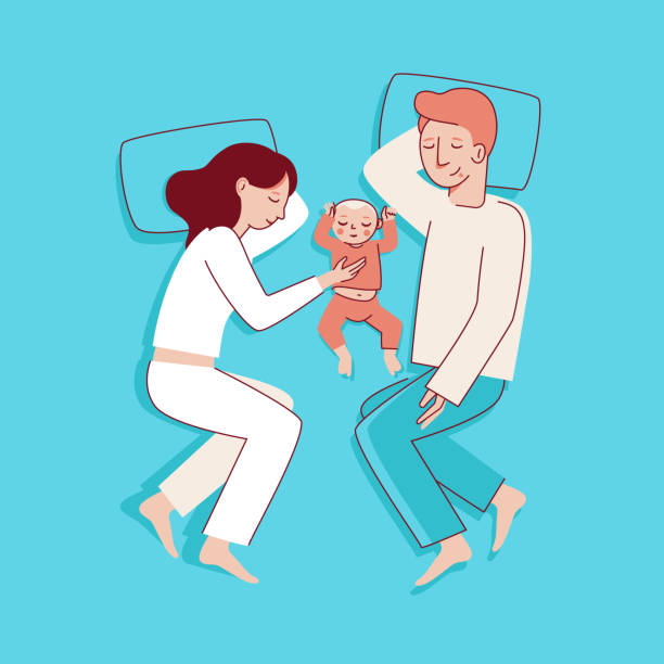Vector illustration in trendy flat linear style - happy family Vector illustration in trendy flat linear style - happy family and parenthood concept - happy mother and father with a baby seeping  - cartoon characters for infographics, banners, cover and hero images man sleeping stock illustrations