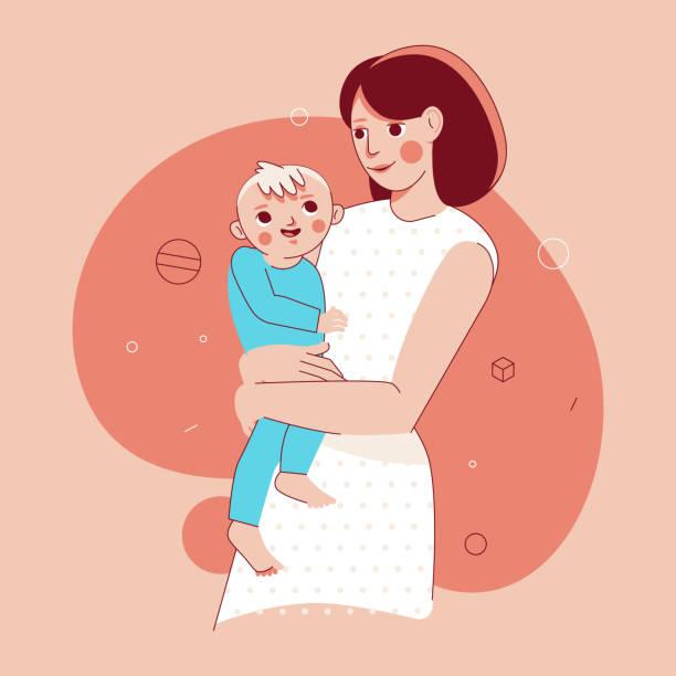 Vektor-Illustration in trendigen flachen linearen Stil - glückliche Mutter und Kind – Vektorgrafik