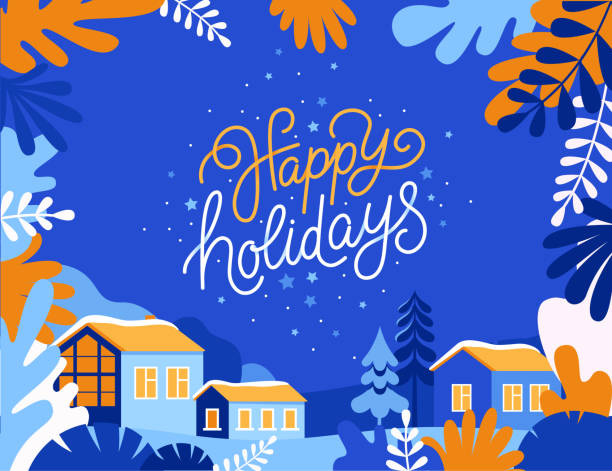 Vector illustration in trendy flat simple style - Happy Holidays vector art illustration