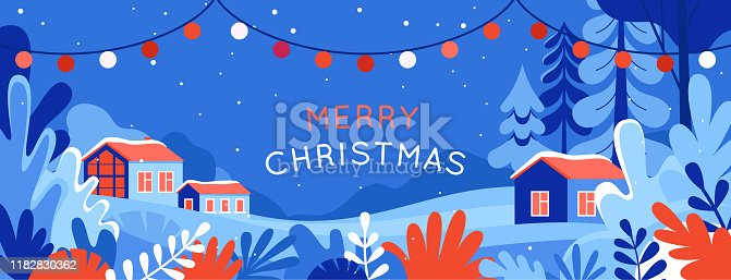 istock Vector illustration in trendy flat simple style - Merry  Christmas and Happy New Year 1182830362