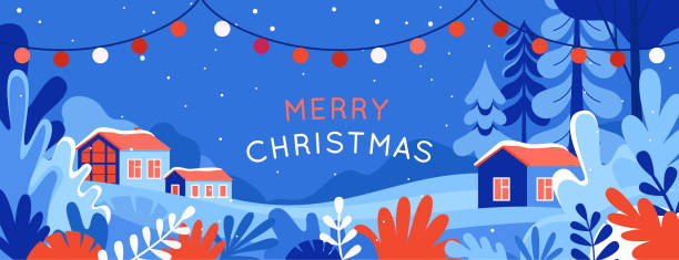 Vector illustration in trendy flat simple style - Merry  Christmas and Happy New Year vector art illustration