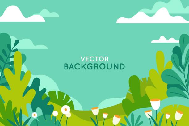 Vektor-Illustration in trendigen flachen einfachen Stil - Frühling und Sommer Hintergrund mit textfreiraum für Text - Landschaft – Vektorgrafik