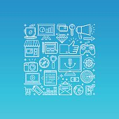 Vector illustration in trendy linear style related to internet marketing, social media promotion, web design prototyping and website development - mono line icons and signs