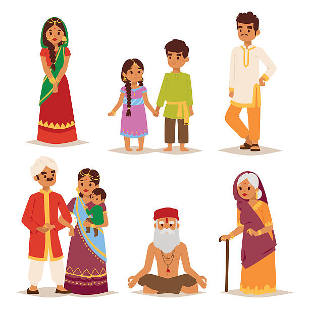 vector illustration indian people. - business casual fashion stock illustrations