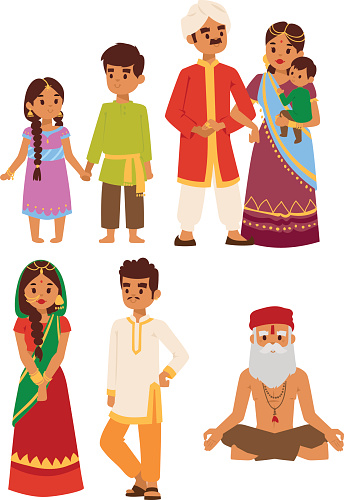 Vector illustration indian people. clipart