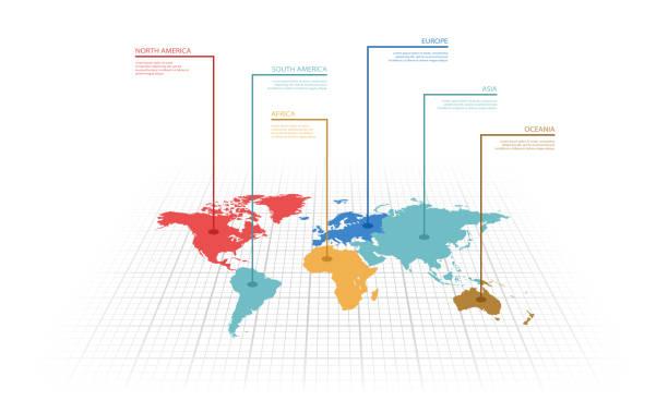infografika ilustracji wektorowej mapy świata - mapa świata stock illustrations