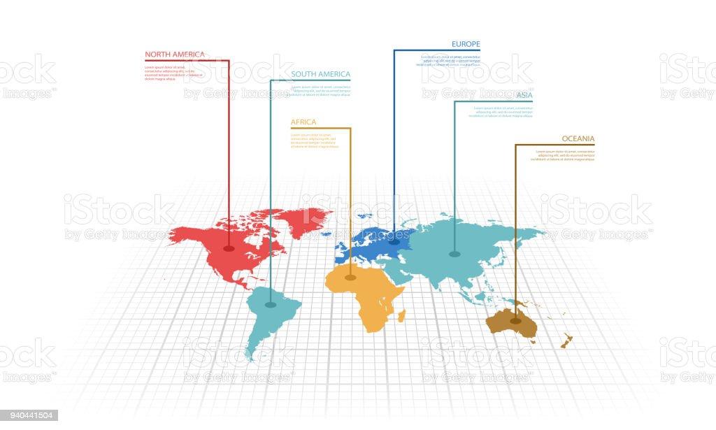 Vector illustration infographic of the World map vector art illustration