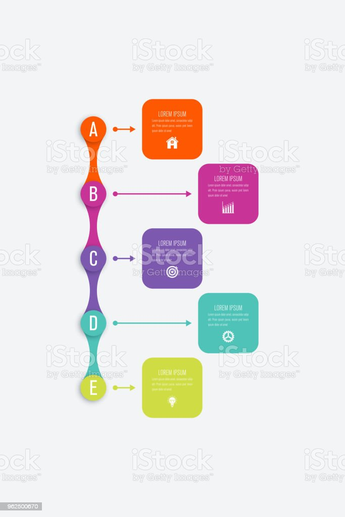 Vector illustration infographics 5 options - Royalty-free Abstract stock vector