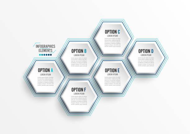 Infografía de ilustración vectorial 6 opciones. Plantilla para folletos, negocios, diseño web - ilustración de arte vectorial