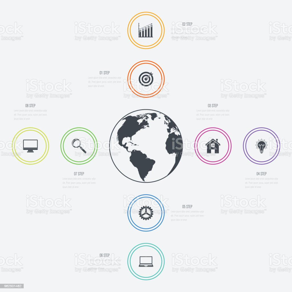 Vector illustration infographics 8 options - Royalty-free Abstract stock vector