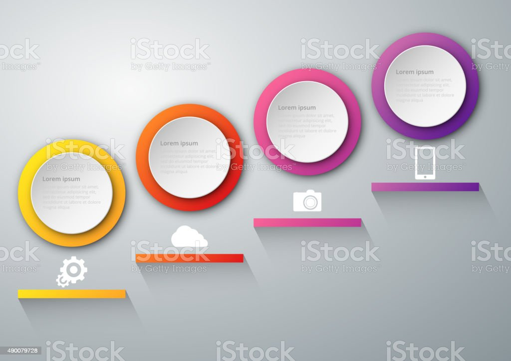 Vector illustration infographics four circles vector art illustration
