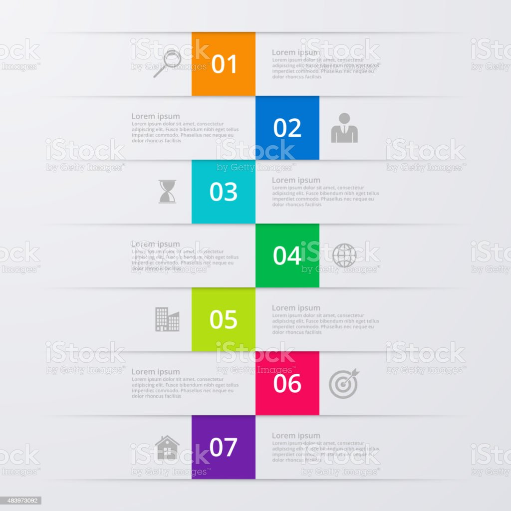 Vector illustration infographics seven options vector art illustration