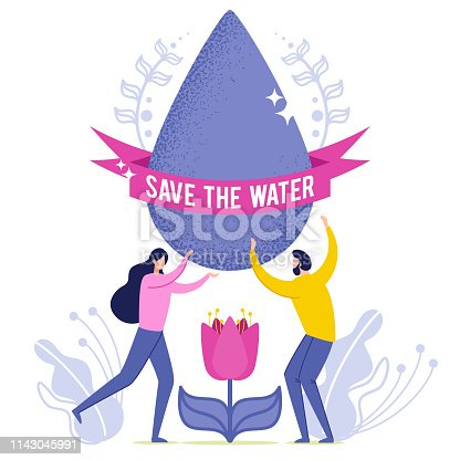 Vector Illustration Inscription Save the Vater. Man and Woman Hold in their Hands Drop Water. Big Water Drop over Flower Bud. Saving Water Solves Problem Water Scarcity. Cartoon Flat.