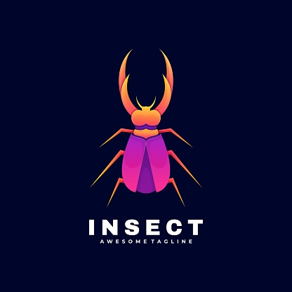Vector Illustration Insect Gradient Colorful Style.