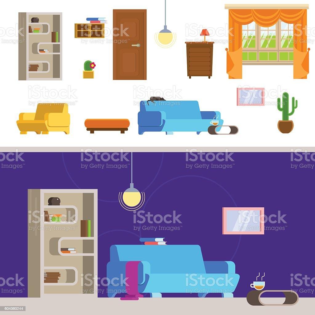 Vektor-illustration Interieur des Wohnzimmer in flachen Stil. – Vektorgrafik